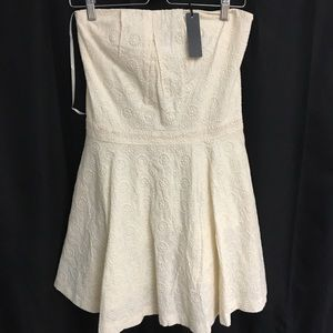 NWT Luca Couture Cream Colored Dress w/Pockets L